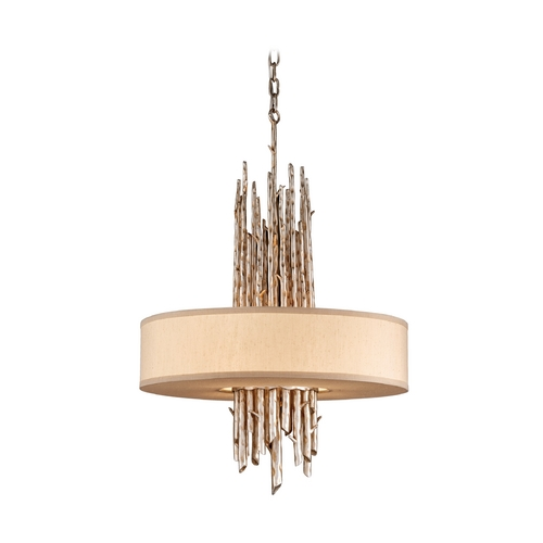 Troy Lighting Drum Pendant Light with Beige / Cream Shade in Silver Leaf Finish FF2895