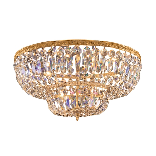 Crystorama Lighting Crystal Flushmount Light in Olde Brass Finish 718-OB-CL-S