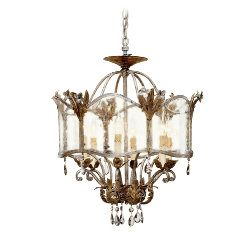 Currey and Company Lighting Mini-Chandelier with Clear Glass in Viejo Gold/silver Finish 9387