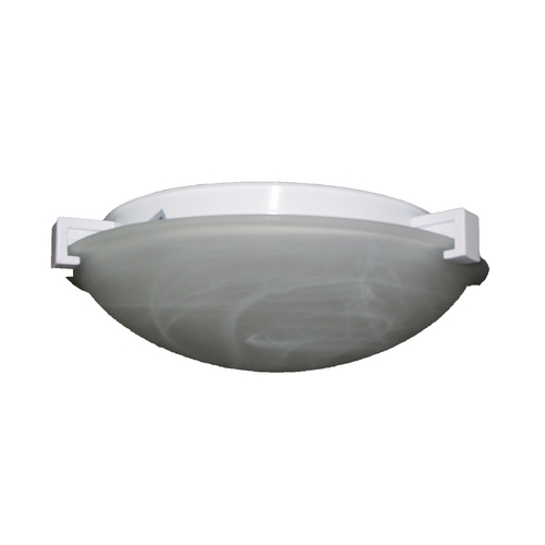 PLC Lighting Modern Flushmount Light with White Glass in Black Finish 7016 BK
