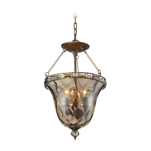 Elk Lighting Semi-Flushmount Light with Clear Glass in Mocha Finish 46021/3