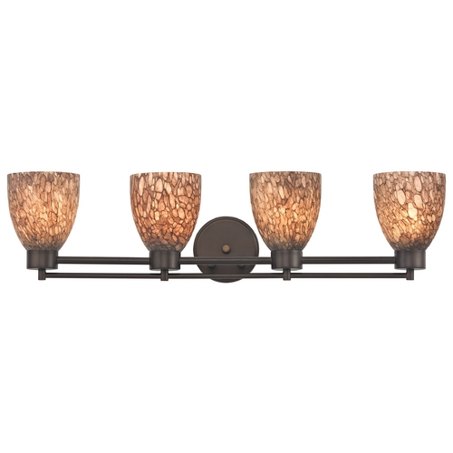 Design Classics Lighting Modern Bathroom Light with Brown Art Glass - Four Lights 704-220 GL1016MB