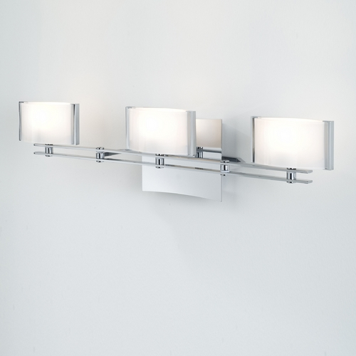 Holtkoetter Lighting Holtkoetter Modern Bathroom Light with White Glass in Chrome Finish 5583 CH GB50