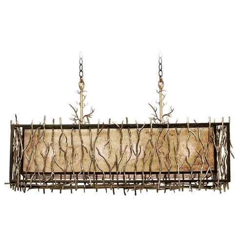 Kalco Lighting Kalco Lighting Oakham Bronze Gold Island Light with Rectangle Shade 6610BZG
