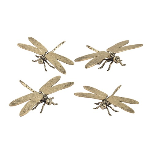 Sterling Lighting Set of 4 Hand Forged Gold Dragonfly Sculptures 165-005/S4