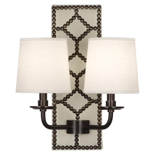 Robert Abbey Lighting Robert Abbey Lighting Williamsburg Lightfoot Wall Sconce with Fondine Fabric Shades Z1032