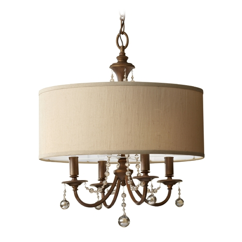 Feiss Lighting Crystal Chandelier with Brown Shade in Firenze Gold Finish F2727/4FG