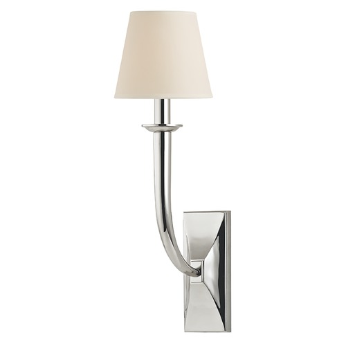Hudson Valley Lighting Modern Sconce Wall Light with Beige / Cream Paper Shade in Polished Nickel Finish 110-PN