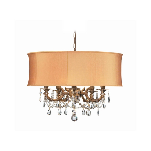 Crystorama Lighting Crystal Mini-Chandelier with Gold Shade in Aged Brass Finish 5535-AG-SHG-CLQ