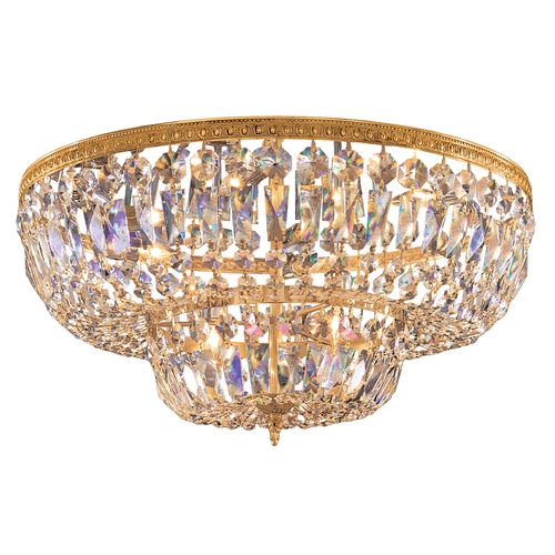 Crystorama Lighting Crystal Flushmount Light in Olde Brass Finish 718-OB-CL-SAQ