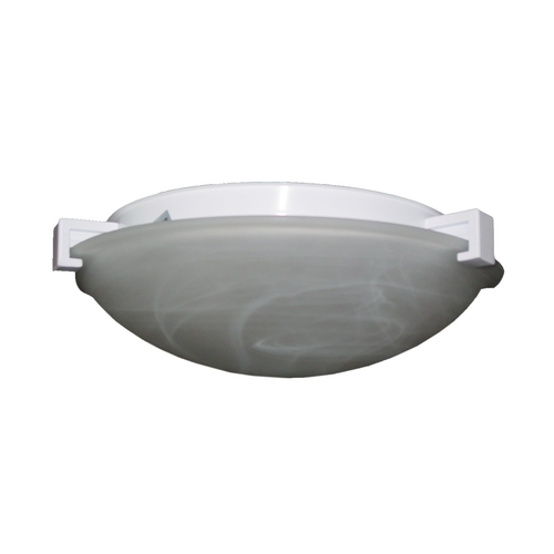 PLC Lighting Modern Flushmount Light with White Glass in White Finish 7012 WH