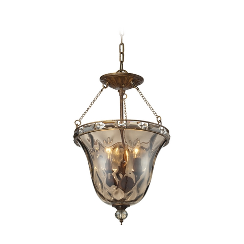Elk Lighting Semi-Flushmount Light with Clear Glass in Mocha Finish 46021/3-LA