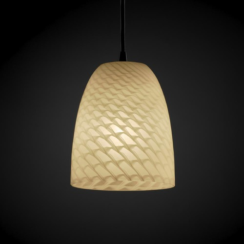 Justice Design Group Justice Design Group Fusion Collection Mini-Pendant Light FSN-8815-18-WEVE-DBRZ
