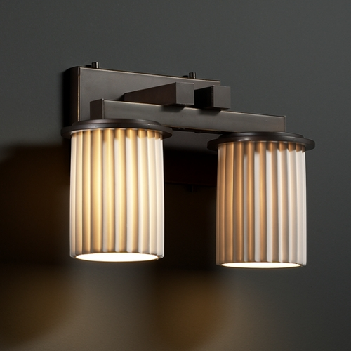 Justice Design Group Justice Design Group Limoges Collection Bathroom Light POR-8772-10-PLET-DBRZ
