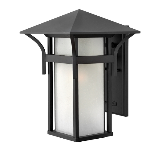Hinkley Etched Seeded Glass Outdoor Wall Light Black Hinkley 2575SK