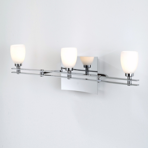 Holtkoetter Lighting Holtkoetter Modern Bathroom Light with White Glass in Chrome Finish 5583 CH G5000