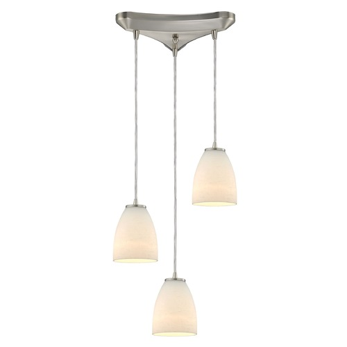 Elk Lighting Elk Lighting Sandstorm Satin Nickel Multi-Light Pendant with Bowl / Dome Shade 10466/3
