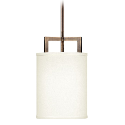 Hinkley Lighting Hinkley Lighting Hampton Brushed Bronze Mini-Pendant Light with Drum Shade 3207BR-GU24