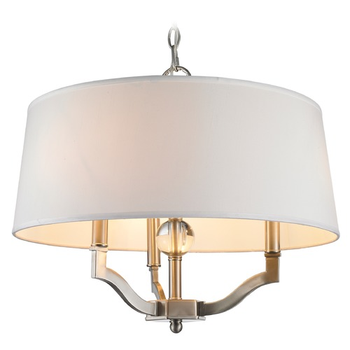 Golden Lighting Golden Lighting Waverly Pewter Pendant Light with Empire Shade 3500-SF PW-CWH