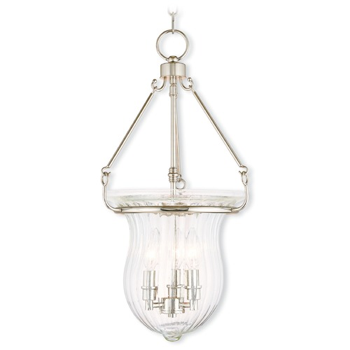 Livex Lighting Livex Lighting Andover Polished Nickel Pendant Light with Fluted Shade 50944-35