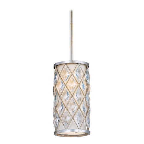 Maxim Lighting Maxim Lighting Diamond Golden Silver Mini-Pendant Light with Cylindrical Shade 91450OFGS