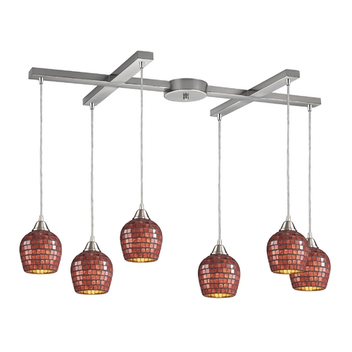 Elk Lighting Modern Multi-Light Pendant Light with Brown Glass and 6-Lights 528-6CPR