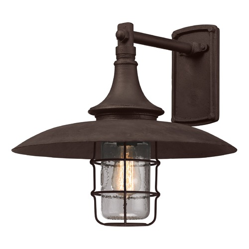 Troy Lighting Outdoor Wall Light with Clear Glass in Centennial Rust Finish B3222