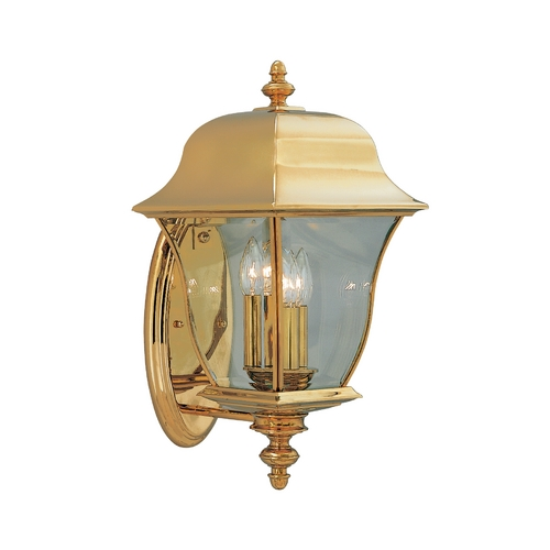 Designers Fountain Lighting Outdoor Wall Light with Clear Glass in Polished Brass Finish 1552-PVD-PB