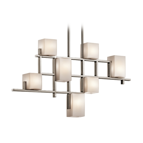 Kichler Lighting Kichler Modern Chandelier with White Glass in Classic Pewter Finish 42941CLP