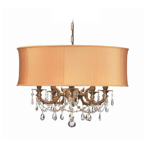 Crystorama Lighting Crystal Mini-Chandelier with Gold Shade in Aged Brass Finish 5535-AG-SHG-CLS