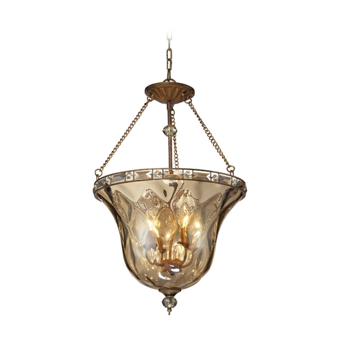 Elk Lighting Semi-Flushmount Light with Clear Glass in Mocha Finish 46022/4