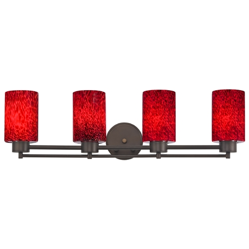 Design Classics Lighting Modern Bathroom Light with Red Glass - Four Lights 704-220 GL1018C