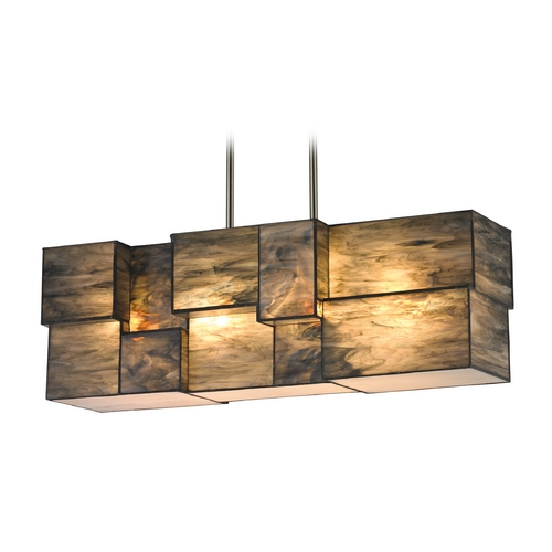 Elk Lighting Modern Island Light with Brown Glass in Brushed Nickel Finish 72073-4