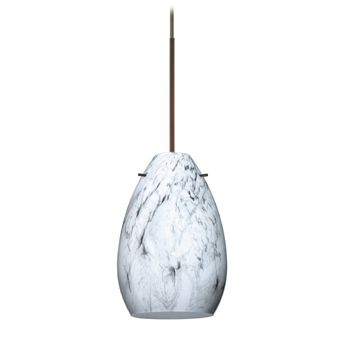Besa Lighting Besa Lighting Pera Bronze Mini-Pendant Light with Oblong Shade 1XT-1713MG-BR