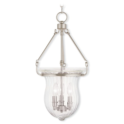 Livex Lighting Livex Lighting Andover Brushed Nickel Pendant Light with Fluted Shade 50944-91