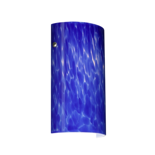 Besa Lighting Modern Sconce Wall Light with Blue Glass in Satin Nickel Finish 704286-SN