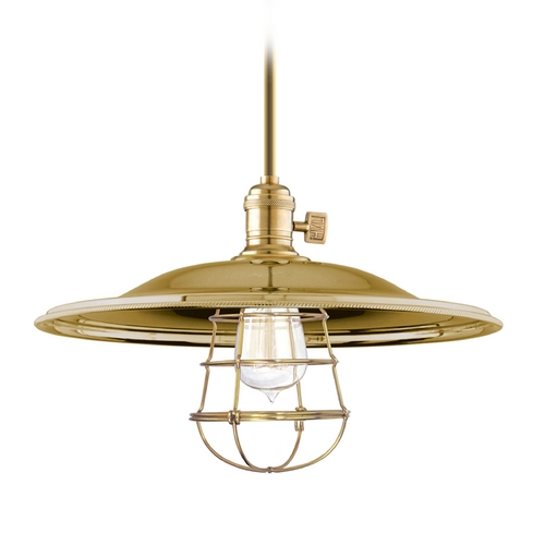 Hudson Valley Lighting Pendant Light in Aged Brass Finish 9001-AGB-MM2-WG