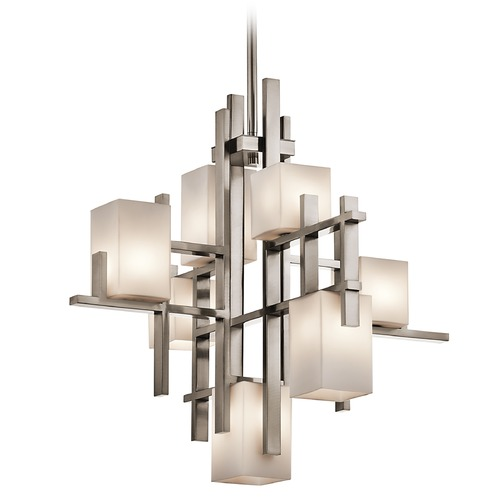 Kichler Lighting Kichler Modern Chandelier with White Glass in Classic Pewter Finish 42940CLP
