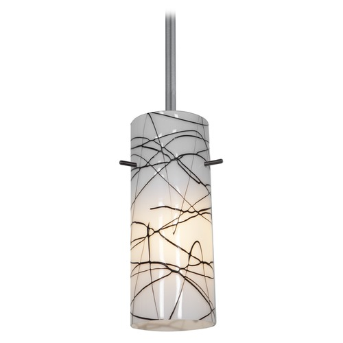 Access Lighting Modern Mini-Pendant Light with White Glass 28030-2R-BS/BLWH