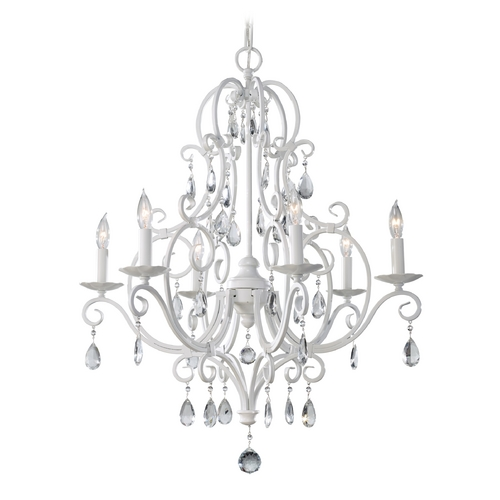 Feiss Lighting Crystal Chandelier in Semi Gloss White Finish F1902/6SGW