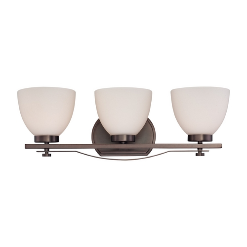 Nuvo Lighting Bathroom Light with White Glass in Hazel Bronze Finish 60/5113