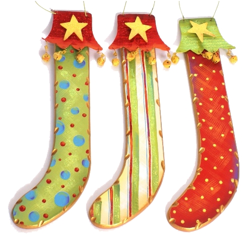 The Round Top Collection Christmas Stockings Hanging Holiday Decorations - Set of Three C5047