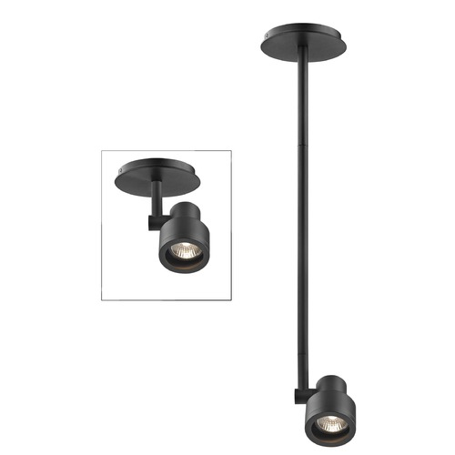 Recesso Lighting by Dolan Designs Stepped Cylinder Adjustable Monopoint - Black - GU10 Base TR0211-BK