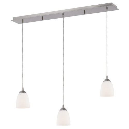 Design Classics Lighting 36-Inch Linear Pendant with 3-Lights in Satin Nickel Finish with Satin White Glass 5833-09 GL1028MB
