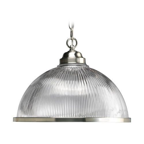 Progress Lighting Progress Pendant Light with Clear Glass in Brushed Nickel Finish P5103-09
