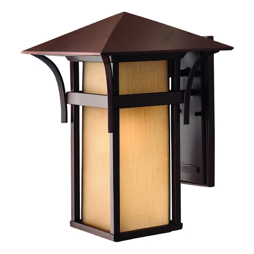 Hinkley Lighting LED Outdoor Wall Light with Amber Glass in Anchor Bronze Finish 2575AR-LED