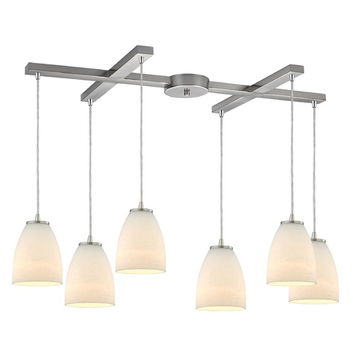 Elk Lighting Elk Lighting Sandstorm Satin Nickel Multi-Light Pendant with Bowl / Dome Shade 10466/6