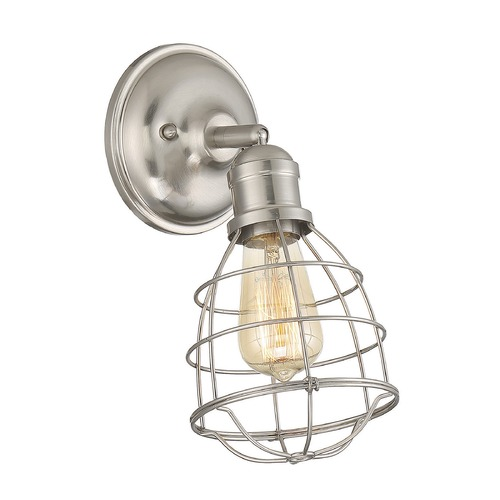 Savoy House Industrial Sconce Satin Nickel Scout by Savoy House 9-4137-1-SN