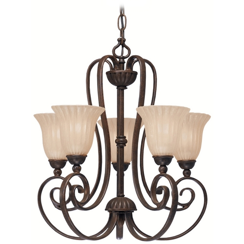 Kichler Lighting Kichler Chandelier with Beige / Cream Shades in Tannery Bronze Finish 1825TZ