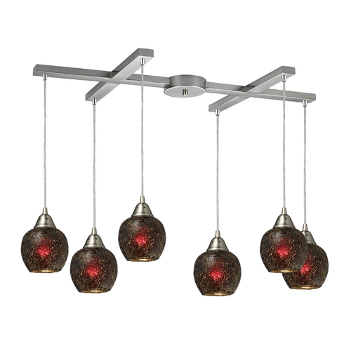 Elk Lighting Multi-Light Pendant Light with Brown Glass and 6-Lights 10208/6WN